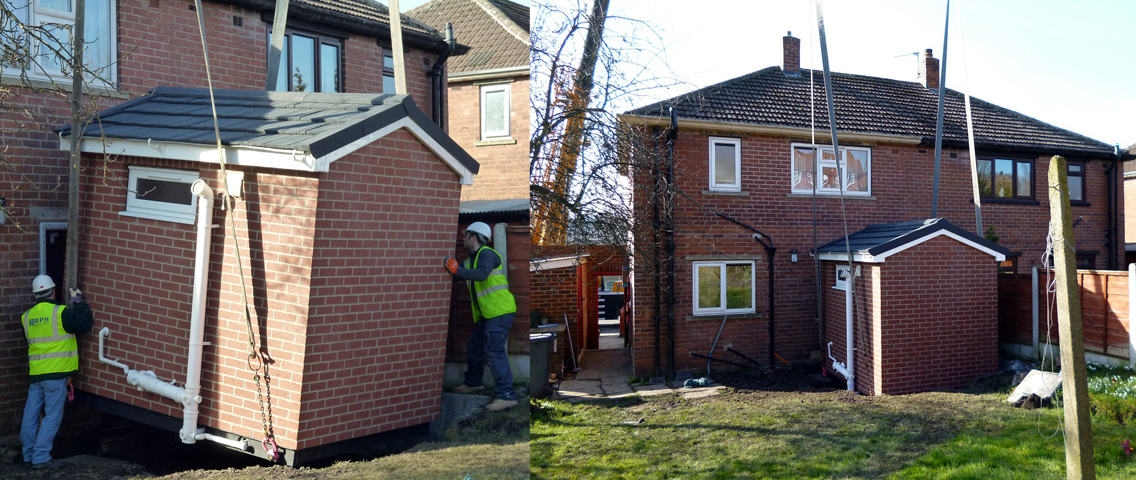 Housing pod extension project for Brick home construction costs