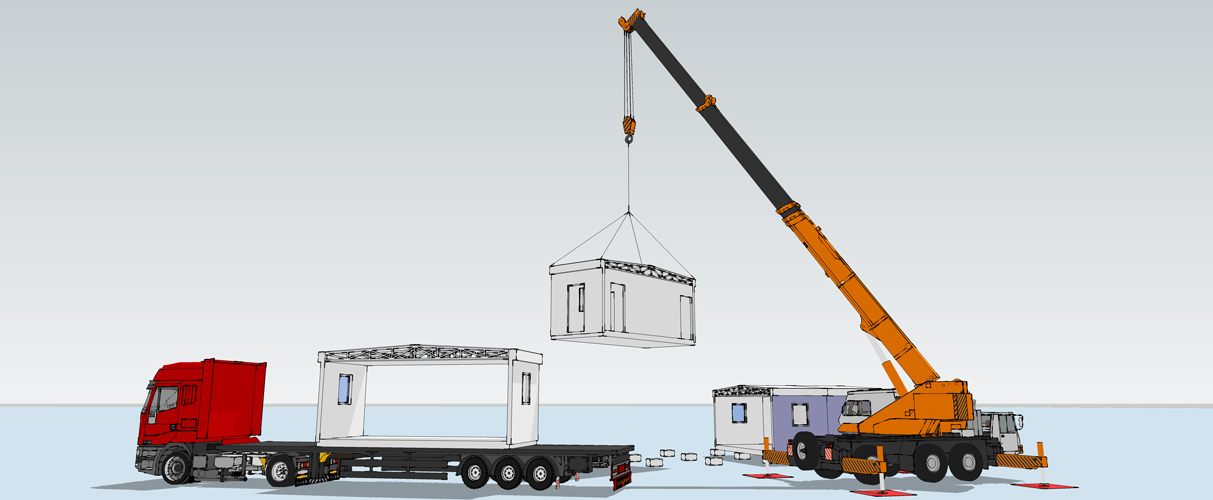 Mobile crane lifting modular buildings from transport